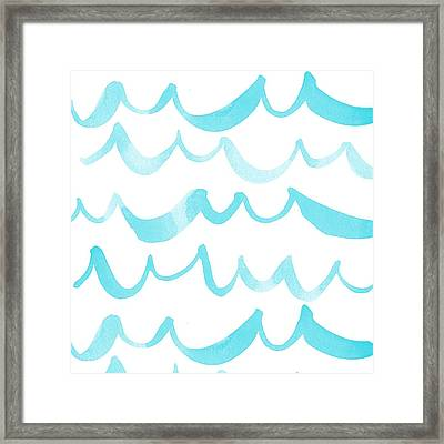 Watercolor Wave Pattern In Soft Blue Framed Print by Gillham Studios