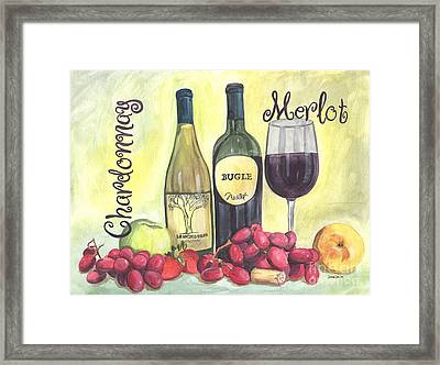 Watercolor Wine Framed Print by Debbie DeWitt