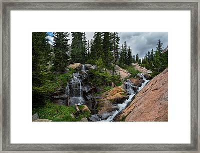 Waterfall Above Upper Slate Lake Framed Print by Michael J Bauer