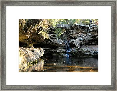 Waterfall At Old Man Cave Framed Print by Larry Ricker