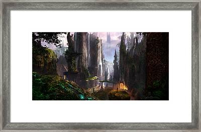 Waterfall Celtic Ruins Framed Print by Alex Ruiz