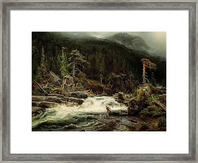 Waterfall In Telemark Framed Print by August Cappelen