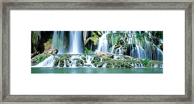 Waterfall Snake River Bonneville Co Id Framed Print by Panoramic Images