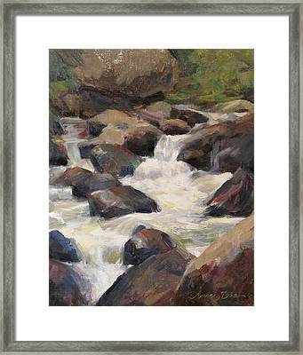 Waterfall Study Framed Print by Anna Rose Bain