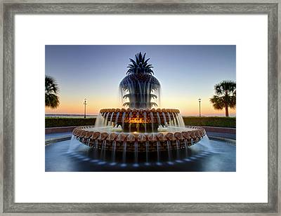 Waterfront Park Pineapple Fountain In Charleston Sc Framed Print by Pierre Leclerc Photography