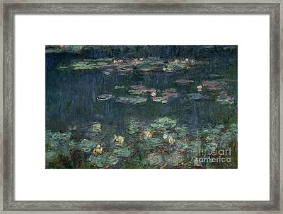 Waterlilies Green Reflections Framed Print by Claude Monet