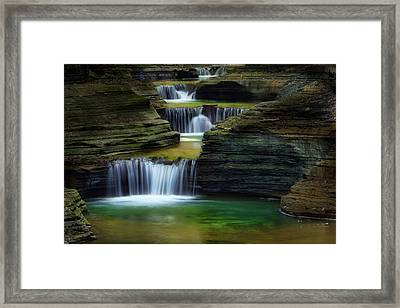 Watkins Glen New York Waterfall Framed Print by Bill Wakeley