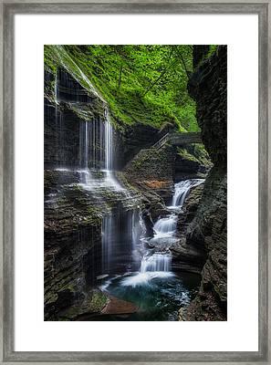 Watkins Glen Rainbow Falls 2013 Framed Print by Bill Wakeley
