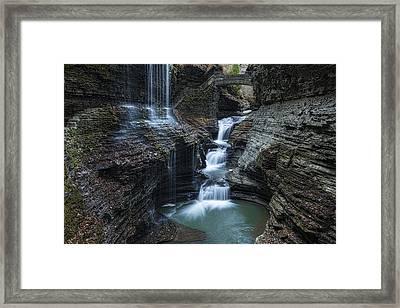 Watkins Glen Rainbow Falls Framed Print by Stephen Stookey