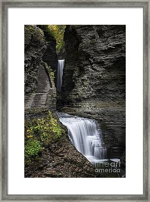 Watkins Glen Waterfall  Framed Print by John Greim