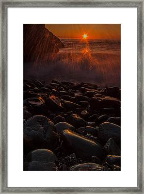 Waves And Sunrise Framed Print by William Sanger