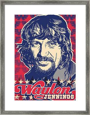 Waylon Jennings Pop Art Framed Print by Jim Zahniser