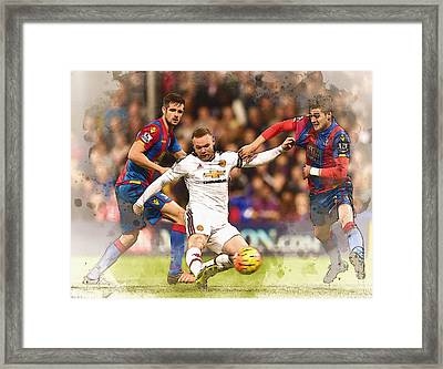 Wayne Rooney Shoots At Goal Framed Print by Don Kuing
