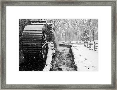 Wayside Inn Grist Mill Covered In Snow Storm Side View Black And White Framed Print by Toby McGuire