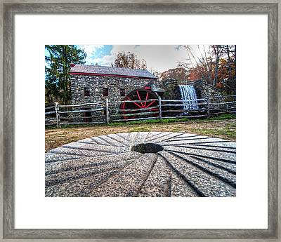 Wayside Inn Grist Mill Millstone Framed Print by Toby McGuire