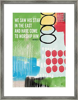 We Come To Worship- Contemporary Christmas Card By Linda Woods Framed Print by Linda Woods