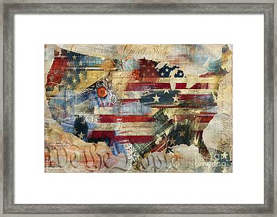 We The People Map America Framed Print by Mindy Sommers