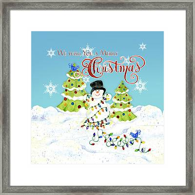 We Wish You A Merry Christmas - Snowman All Tangled Up In Lights Framed Print by Audrey Jeanne Roberts