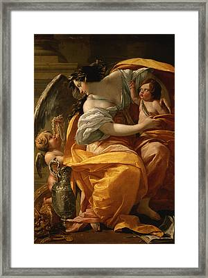 Wealth Framed Print by Simon Vouet