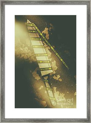Weapon Wrapped In Yellow Crime Scene Ribbon Framed Print by Jorgo Photography - Wall Art Gallery