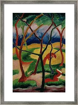 Weasels Playing Framed Print by Franz Marc