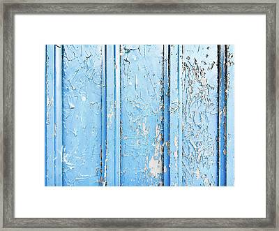 Weathered Blue Wood Framed Print by Tom Gowanlock