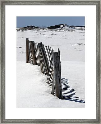 Weathered Fence On Destin Sand Dunes  Framed Print by Deb JAZI Raulerson