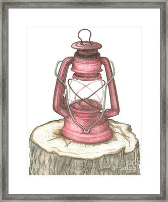 Weathered Lantern Framed Print by Carra Leigh