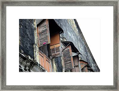 Weathered Wooden Shutters And Windows In Old Building Georgetown Penang Malaysia Framed Print by Imran Ahmed