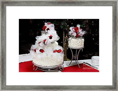 Wedding Cake And Red Roses Framed Print by Andee Design
