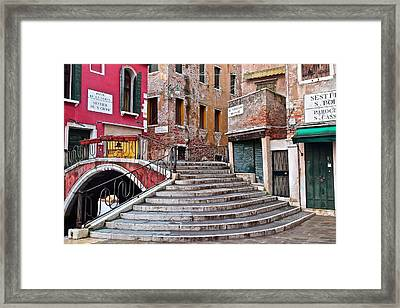 Wedding Gown Stairs Framed Print by Frozen in Time Fine Art Photography