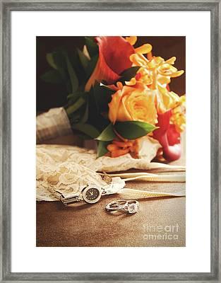 Wedding Ring With Bouquet On Velvet  Framed Print by Sandra Cunningham