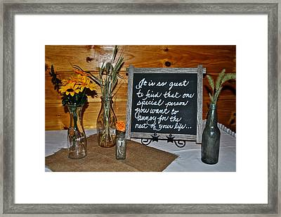 Marriage Proposal Framed Print featuring the photograph Wedding Vows by Frozen in Time Fine Art Photography