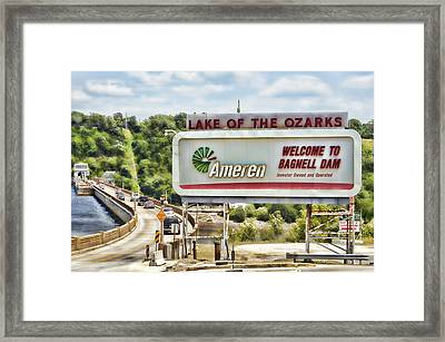 Welcome To Bagnell Dam Framed Print by Cricket Hackmann