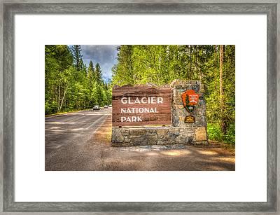 Welcome To Glacier National Park Framed Print by Spencer McDonald