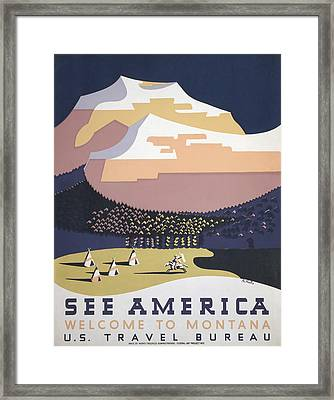 Welcome To Montana - See America Wpa Framed Print by War Is Hell Store