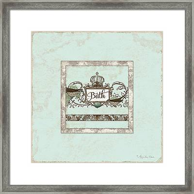 Welcome To Our Nest - Bath Vintage Birds W Crown Framed Print by Audrey Jeanne Roberts