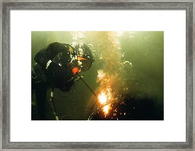 Welding Underwater Framed Print by Peter Scoones