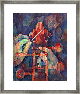 Well Conducted - Painting Of Cello Head And Conductor's Hands Framed Print by Susanne Clark