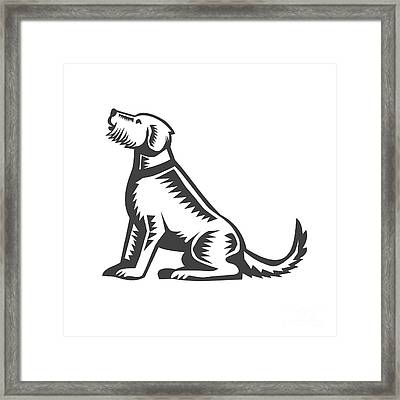 Welsh Terrier Sitting Woodcut  Framed Print by Aloysius Patrimonio