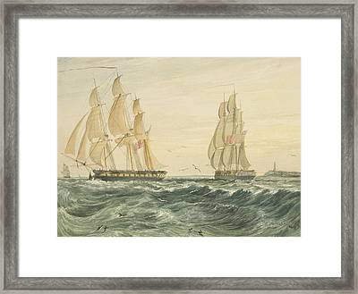 West Indiaman Ann Off Flat Holm Framed Print by Thomas Leeson the Elder Rowbotham