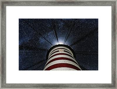 West Quoddy Head Lighthouse Night Light Framed Print by Marty Saccone