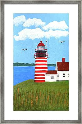 West Quoddy Head Lighthouse Painting Framed Print by Frederic Kohli