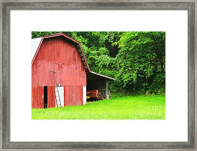 West Virginia Barn And Baler Framed Print by Thomas R Fletcher