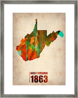 West Virginia Watercolor Map Framed Print by Naxart Studio