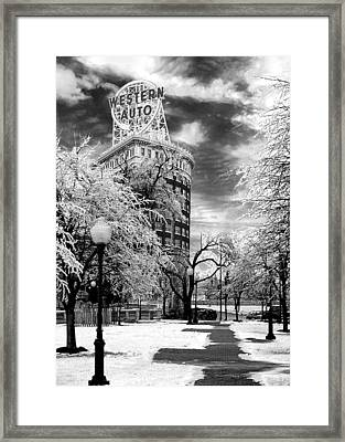 Western Auto In Winter Framed Print by Steve Karol