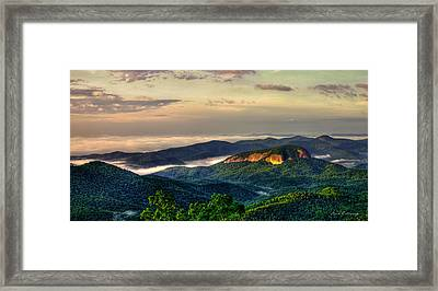 Looking Glass Rock Sunrise Between The Clouds Blue Ridge Parkway Framed Print by Reid Callaway