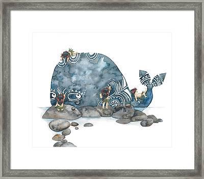Whale Art Framed Print by Soosh