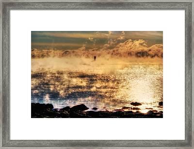 Whaleback Lighthouse Golden Sunrise - Maine Framed Print by Joann Vitali