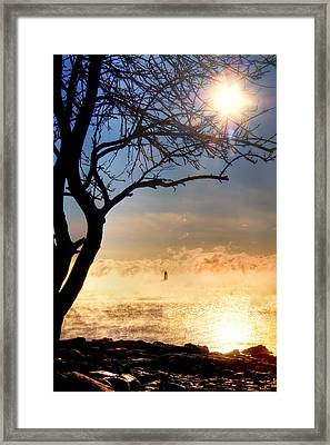 Whaleback Lighthouse Sunrise With Sea Smoke. - Maine Lighthouse Art Framed Print by Joann Vitali